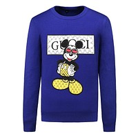 GUCCI x Mickey Mouse co-branded trend men's slim round neck sweater Blue