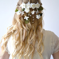 Bridal crown, flower head wreath, wedding hair accessory, woodland hair piece, Hair Wreath, Circlet, White, headpiece - MAY POLE