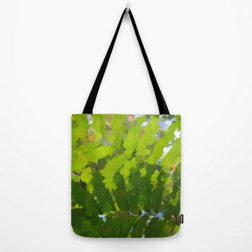Art Print Tote Bag with Abstract Green Jungle Print, Canvas Bag.