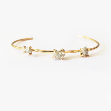 Three stone Rough Diamond cuff bracelet