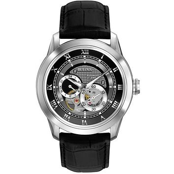 Bulova Mens BVA Series Automatic - Black/Gray Dial -  Stainless - Black Leather