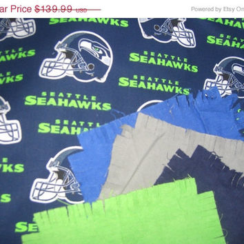 """Seattle Seahawks football flannel rag quilt kit fringed die cut fabric for quilting squares batting 52""""x 65.5"""""""