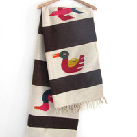 STOREWIDE SALE...Vintage Mexican Striped Ethnic Blanket Rug / Bird Rug