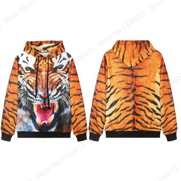 Wild Tiger Hoody Mens Hip Hops Hoodies Rock Punk Pullover With Pocket Wild Golden Leopard Skateboard Sweatshirts Unisex Jacket