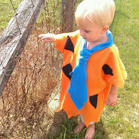 Fred Flintstone Inspired Halloween Costume -  fleece - Baby child- convo for adult - Pebbles  and family too