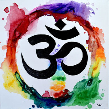 Om Rainbow Meditation Ring, Original Painting, chakra, energy, yoga, rainbow, ohm, canvas, zen