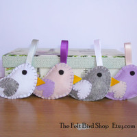 Felt birds. Colored felt birds. Set of 4 felt birds ornaments.