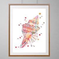 Sea Shell Watercolor Print, colorful zentangle doodle Shell Illustration, Sea life, ocean life Print, Wall Decor, vertical poster [NO 207]