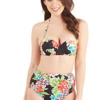 ModCloth High Waist A Splashing Success Swimsuit Top in Black