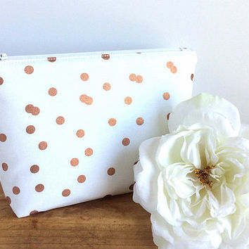 Bridesmaid Gift - Rose Gold Makeup Bag - Small Zipper Pouch - Gift for Her