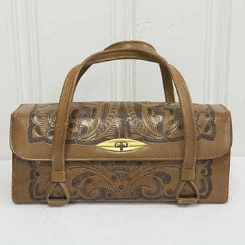 Vintage Mexican Tooled Leather Purse Bag Aztec Sundial Fabulous!