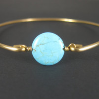 Gold Turquoise Bracelet - Turquoise Bracelet Gold - Gold Turquoise Jewelry - Stacking Bangles - Thin Gold Bracelet - Wire Bangle