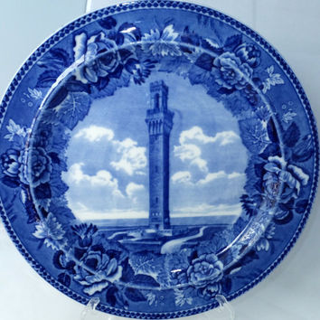 Antique Wedgwood Provincetown Mass Souvenir Plate -  Commemorative English Staffordshire Flow Blue, Massachusetts, Pilgrim Memorial,  P Town