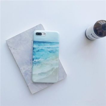 Blue Sea Waves Beach Painted Case for iPhone