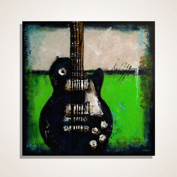 Guitar painting Music art Les Paul Gift for musician Original Lime Green Navy Blue Color block painting on Canvas by Magier