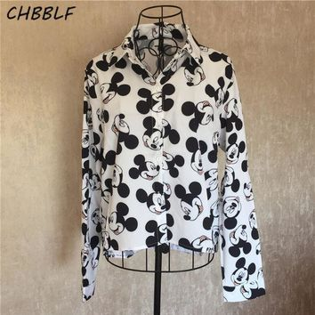 CREYON5U Spring New European Mickey Mouse Shirt Women Fashion Turn-down Collar Camisa Feminina Manga Comprida Blouse Shirt Xdz0922