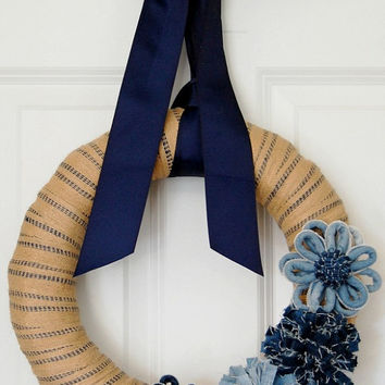 Denim and Burlap Wreath, Front Door Wreath, Indoor Wreath, Burlap Wrapped Denim Flower Wreath, Spring Summer Wreath, Blue and Tan Wreath
