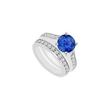 14K White Gold : Blue Sapphire and Diamond Engagement Ring with Wedding Band Set 1.10 CT TGW
