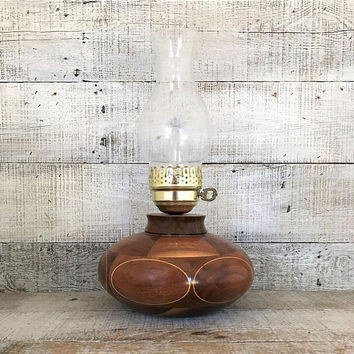 Lamp Hurricane Lamp Mid Century Lamp Wood Hurricane Lamp Handmade Table Lamp Desk Lamp Rustic Man Cave Lighting Folk Art Lamp Farmhouse Chic