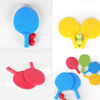 1Pair Kids Outdoor Sports Play Game Toy Kids Table Tennis Rackets Toy Plastic Ping-pong Racket With 2 Ball Toys