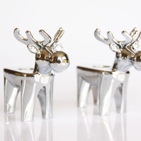 Silver coloured reindeer candle holders, Christmas decoration, vintage deer candlesticks, bambi home decor, romantic table decor