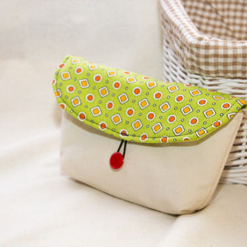 Lime Green Purse, Small Cotton Pouch, Geometric Pattern in Green, Red and Orange, Money Pouch