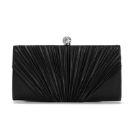 Black Pleated Evening Clutch