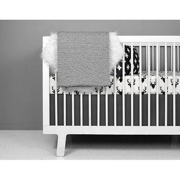 Olli Lime Deer Crib Baby Bedding Set