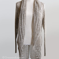 2 Fit Knit Cardigan - in OAT knit cardigan AND knit sweater - 2 in 1 knitted cardi sweater - two ways to wear - grace and lace