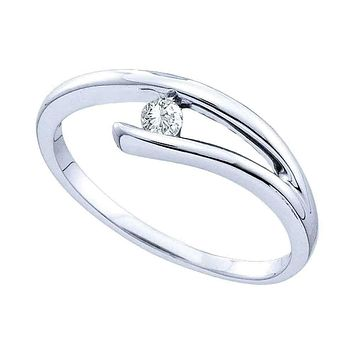 10kt White Gold Women's Round Diamond Solitaire Promise Bridal Ring 1/12 Cttw - FREE Shipping (US/CAN)