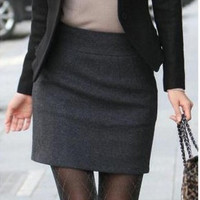 Top Quality Warm Winter Skirts Womens Autumn Fall Plus Size Zipper Black Gray Career Office Mini Short Pencil Wool Skirt