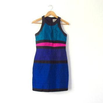 Vintage Color Block Dress 1980s Halter Mini in by ItchforKitsch