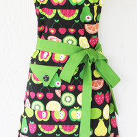 Colorful Fruit Apron, Apples, Pears, Watermelon, Women's Full Apron, Vintage Style, Retro Apron, KitschNStyle