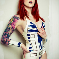 Latex Rubber Star Wars R2D2 Inspired Bodysuit