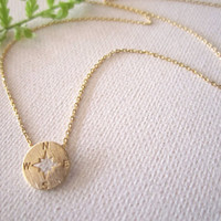 Tiny gold, silver compass necklace..simple handmade jewelry, everyday, north, south, west, east,bridal jewelry, wedding, bridesmaid gift