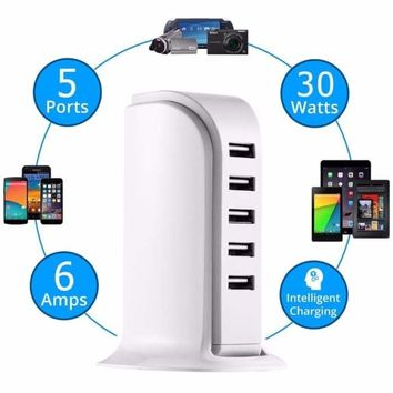 5-Port Fast Charger Apple iPhone X/8/7/6s/Plus/6, iPad, Samsung Galaxy/Note
