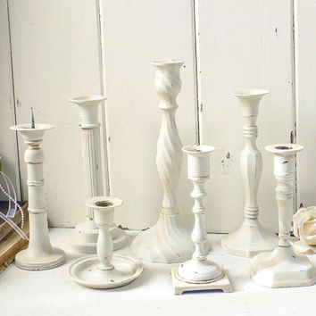 Rustic White Candleholders, Farmhouse Cream Taper Candlestick Holders, Brass Candleholders, Wedding Decor, Mantle Decor, Vintage Candles