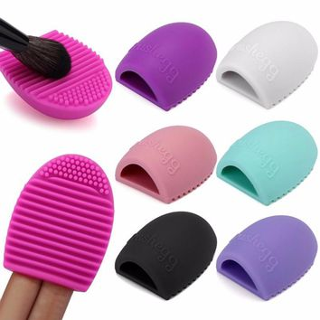 Exclusive 11 Color New Hot Selling Brushegg Silica Glove Makeup Washing Brush Scrubber Board Cosmetic Cleaning  Tools