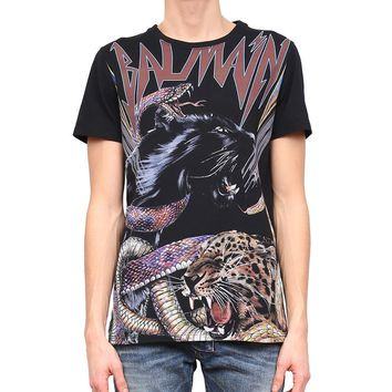 Animalistic Contrasting Print T-Shirt by Balmain
