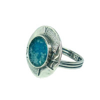 Handmade Roman Glass Rings - Sterling Silver Modern Designed Ancient Roman Glass Ring