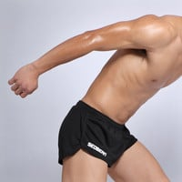 Stylish Men Double-layered Black Shorts [6541463683]