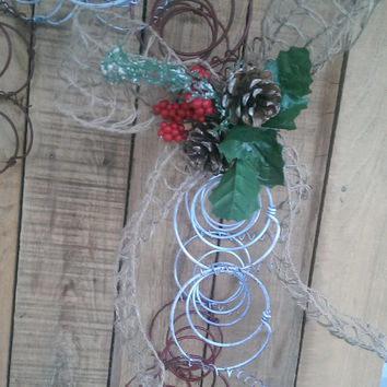 Rustic Bed Spring  Christmas Wreath Candy Cane Burlap Bow