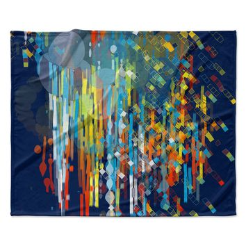 "Frederic Levy-Hadida ""Color Fall"" Blue Multicolor Fleece Throw Blanket"