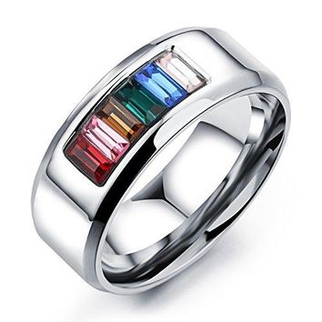 8mm Titanium Stainless Steel Cubic Zirconia Rainbow Gay Lesbian Wedding Engagement Ring LGBT Pride Bands