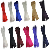 "NEW Quality Fingered Satin Opera 22"" Elbow Gloves Burlesque Wedding Party Gloves Alternative Measures"