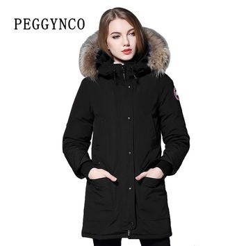 Women Polyester Parkas Padding Wide Waisted Wool Real Raccoon Fur Black Peacoat with Woven Patch Cotton Coat Walking Coat Parka