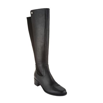 Marc Fisher Incept Wide Calf Black Leather Tall Shaft Boots