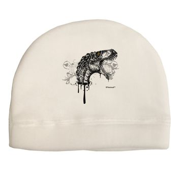 Artistic Ink Style Dinosaur Head Design Adult Fleece Beanie Cap Hat by TooLoud