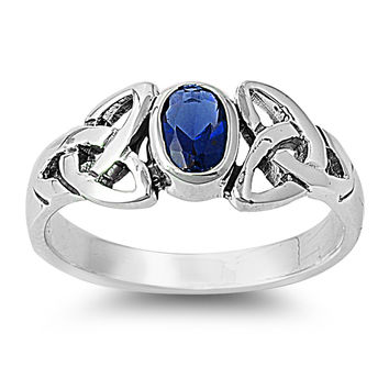 925 Sterling Silver CZ Wicca Celtic Triquetra Simulated Sapphire Ring 8MM