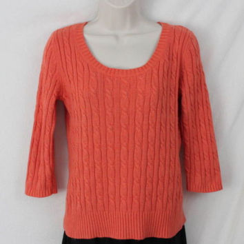 Ann Taylor Loft M size Sweater Orange Soft Cable All Season Womens 3.4 Sleeve